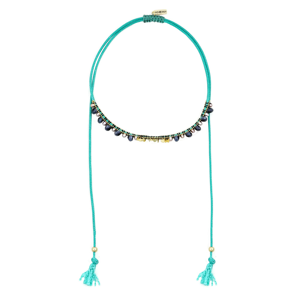 Blue Necklace w/ Crystals