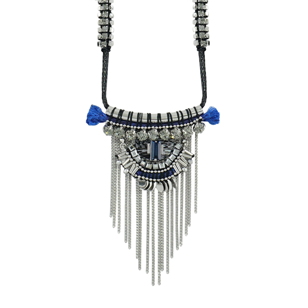Blue, Black & Metal Necklace