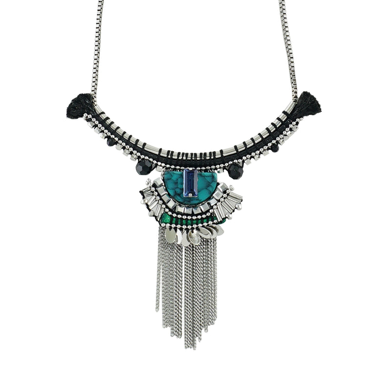 Silver Necklace w/ Turquoise details