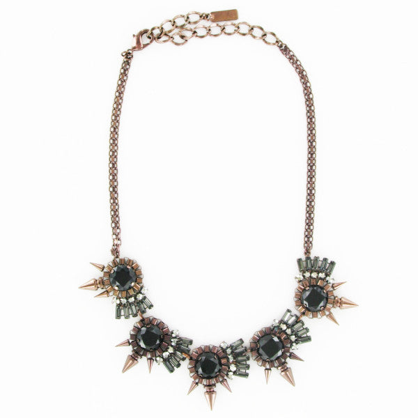 Bronze Necklace with Crystals