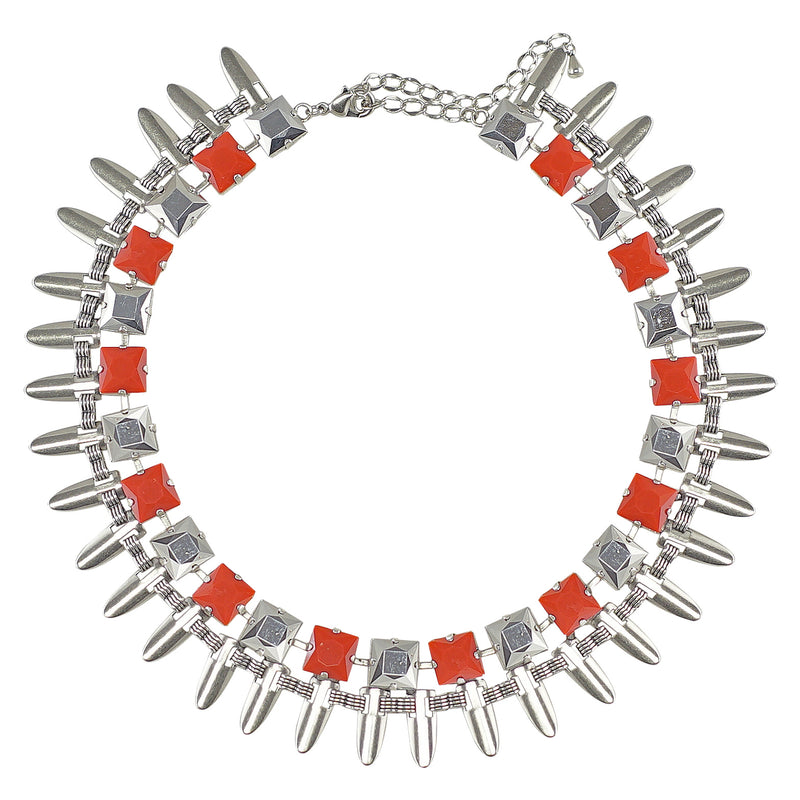 Silver Plated Necklace w/ Orange Crystals