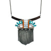 Gunmetal Necklace w/ Multicolored Crystal Pendant