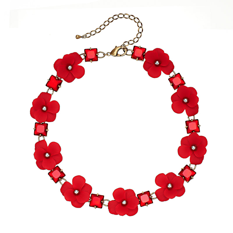 Red Flower & Crystal Necklace