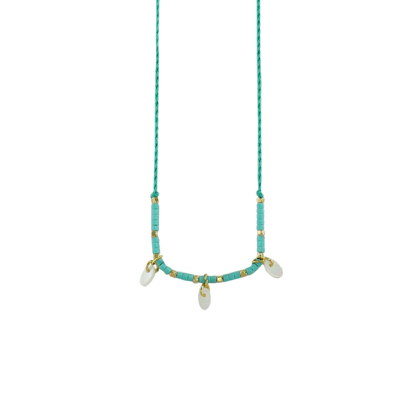 Turquoise String w/ Mother of Pearl & Miyuki Stones