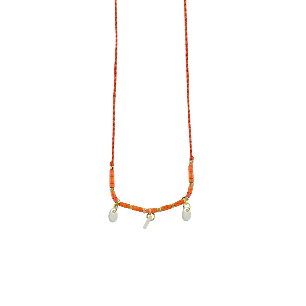 Orange String w/ Mother of Pearl & Miyuki Stones