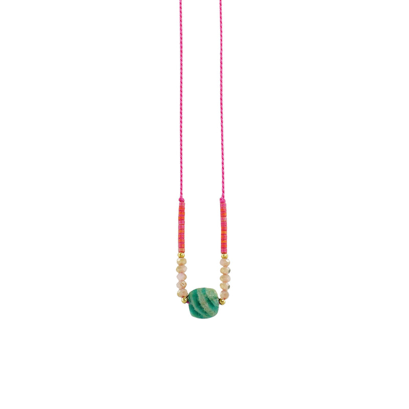 Pink Necklace w/ Turquoise Green Stone