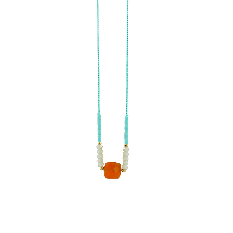 Cyan Necklace w/ Orange stone