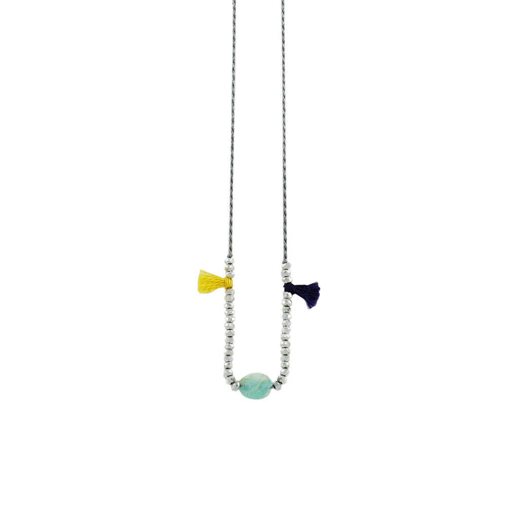 Grey String Necklace w/ Tassels & Cyan Stone
