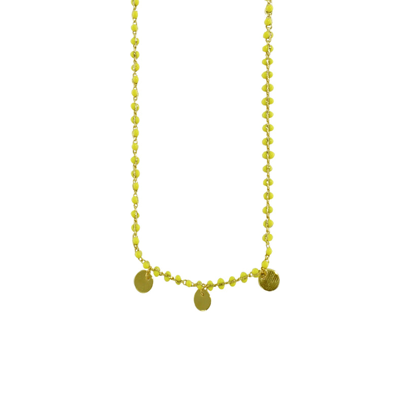 Yellow Bead Necklace w/ Golden Plates