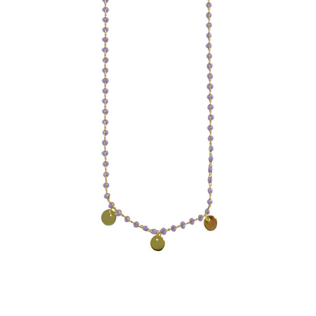 Purple Bead Necklace w/ Golden Plates