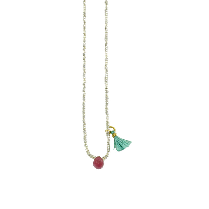 White & Golden Necklace w/ Tassel & Red Stone