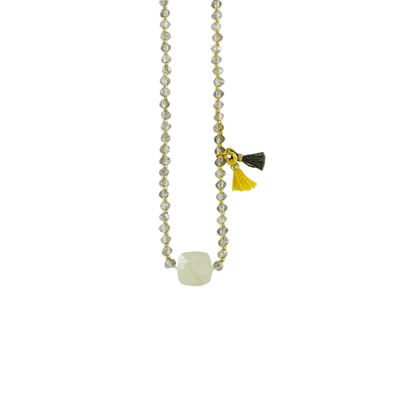 Grey & Golden Necklace w/ Opal Stone