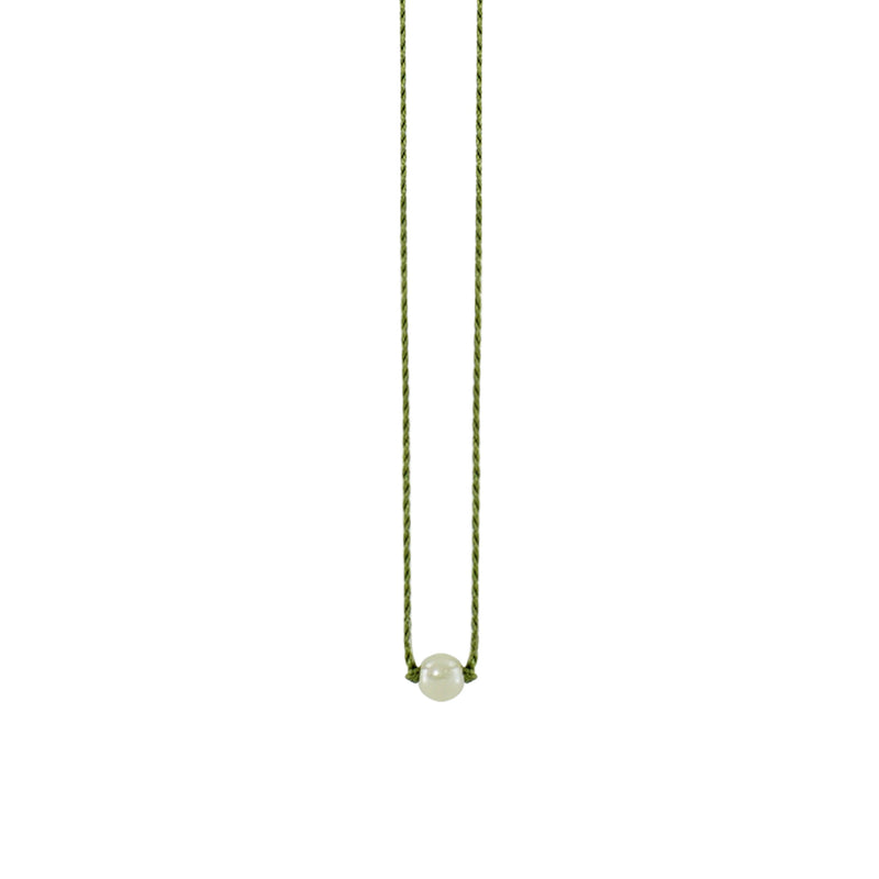 Green String Necklace w/ Pearl