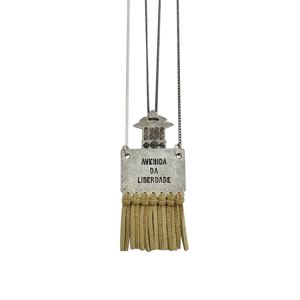 Kiosk and Liberty Avenue Pendants w/ Gunmetal & Silver Chains