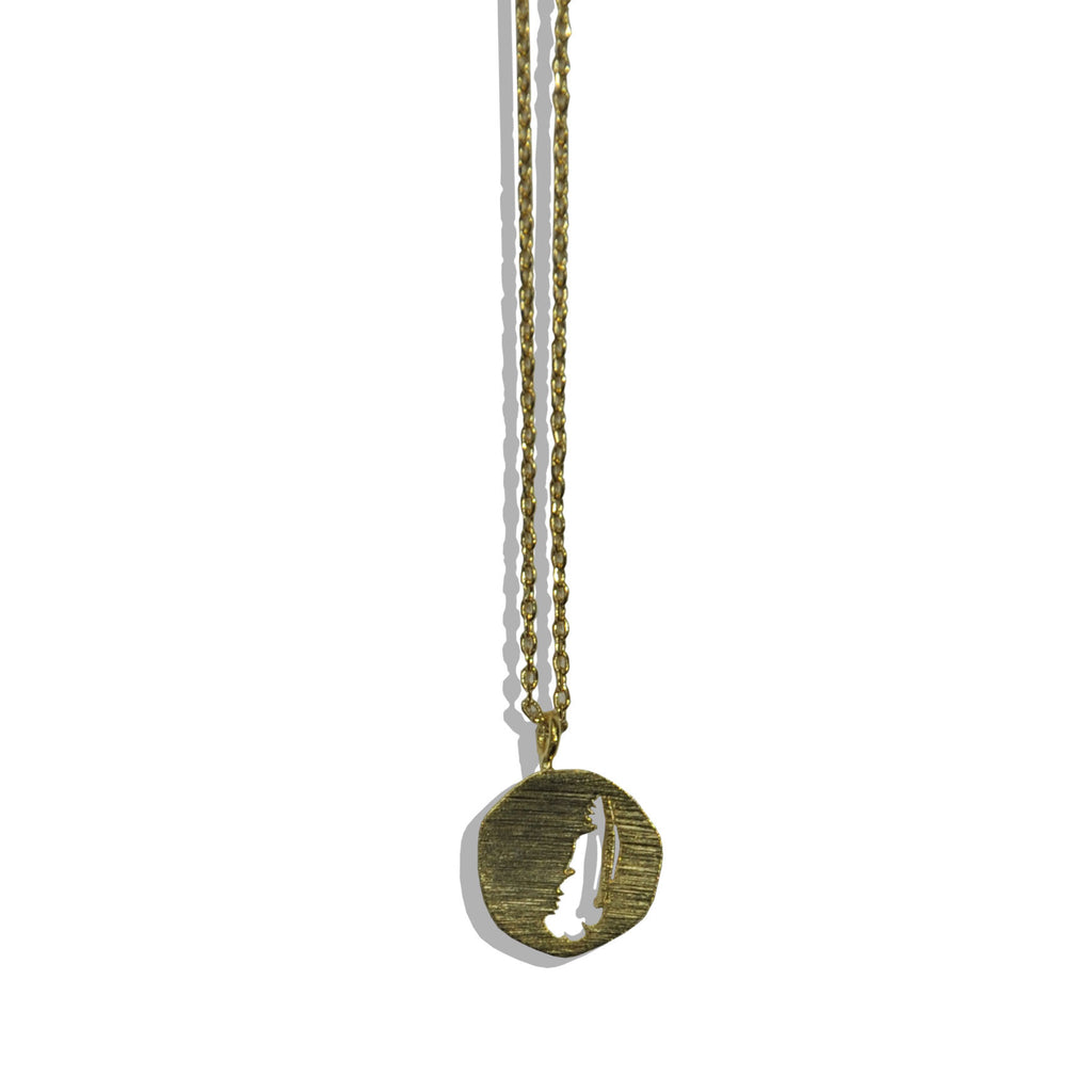 Matt Gold Necklace with Feather