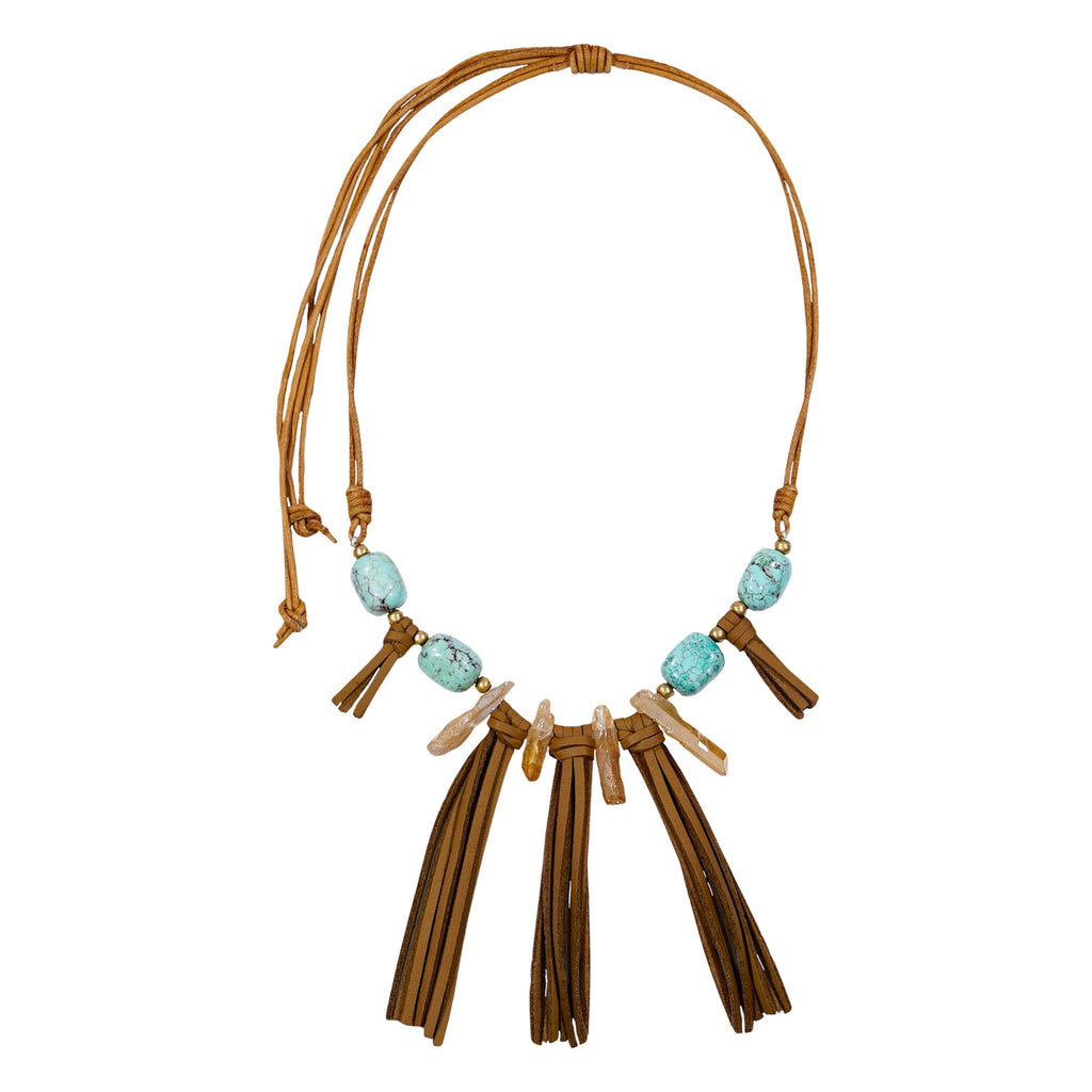 Beige Necklace w/ Turquoise Waterstones & Crystals