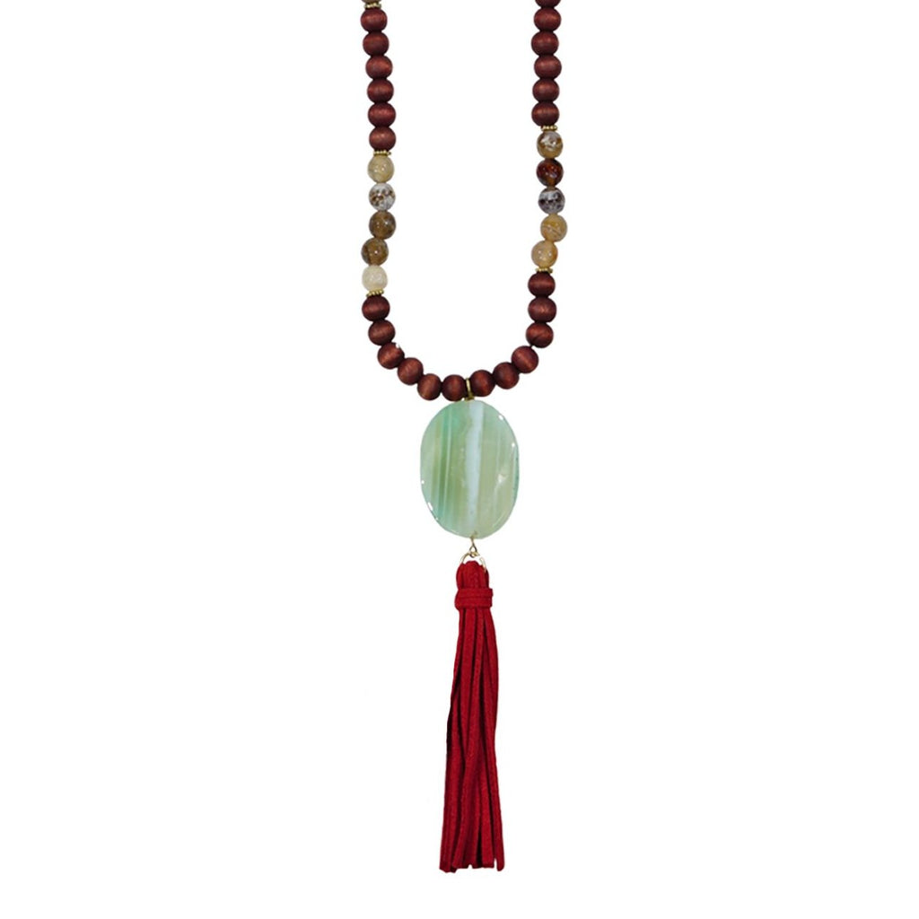 Wooden Necklace with Cyan Stone
