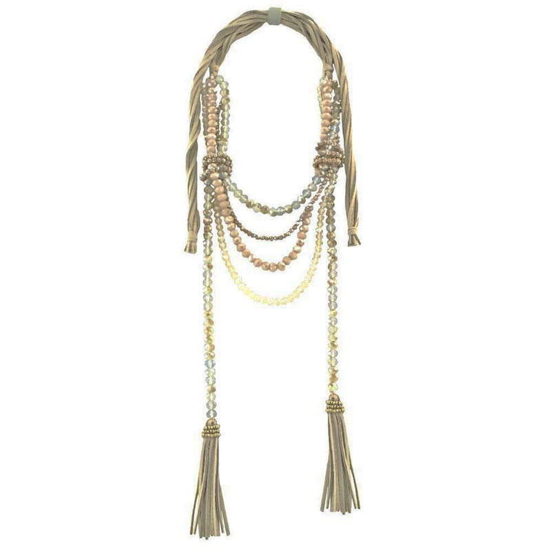 Beige Necklace w/ Crystals