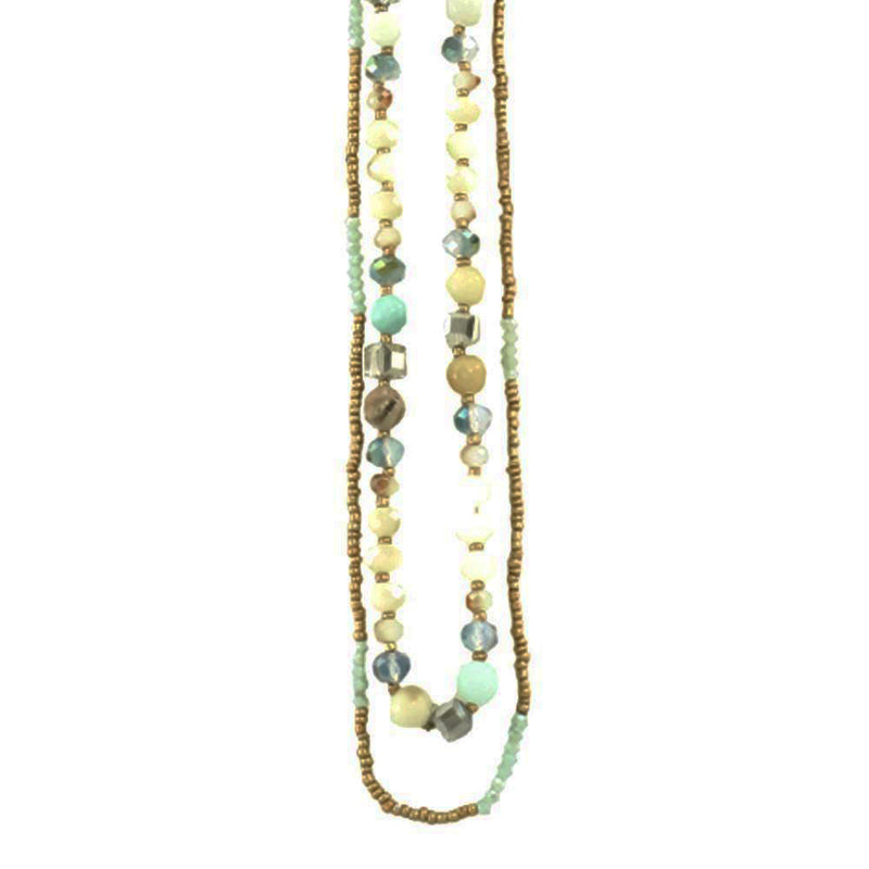 Multicolored Crystal & Stone Necklace w/ Golden Beads