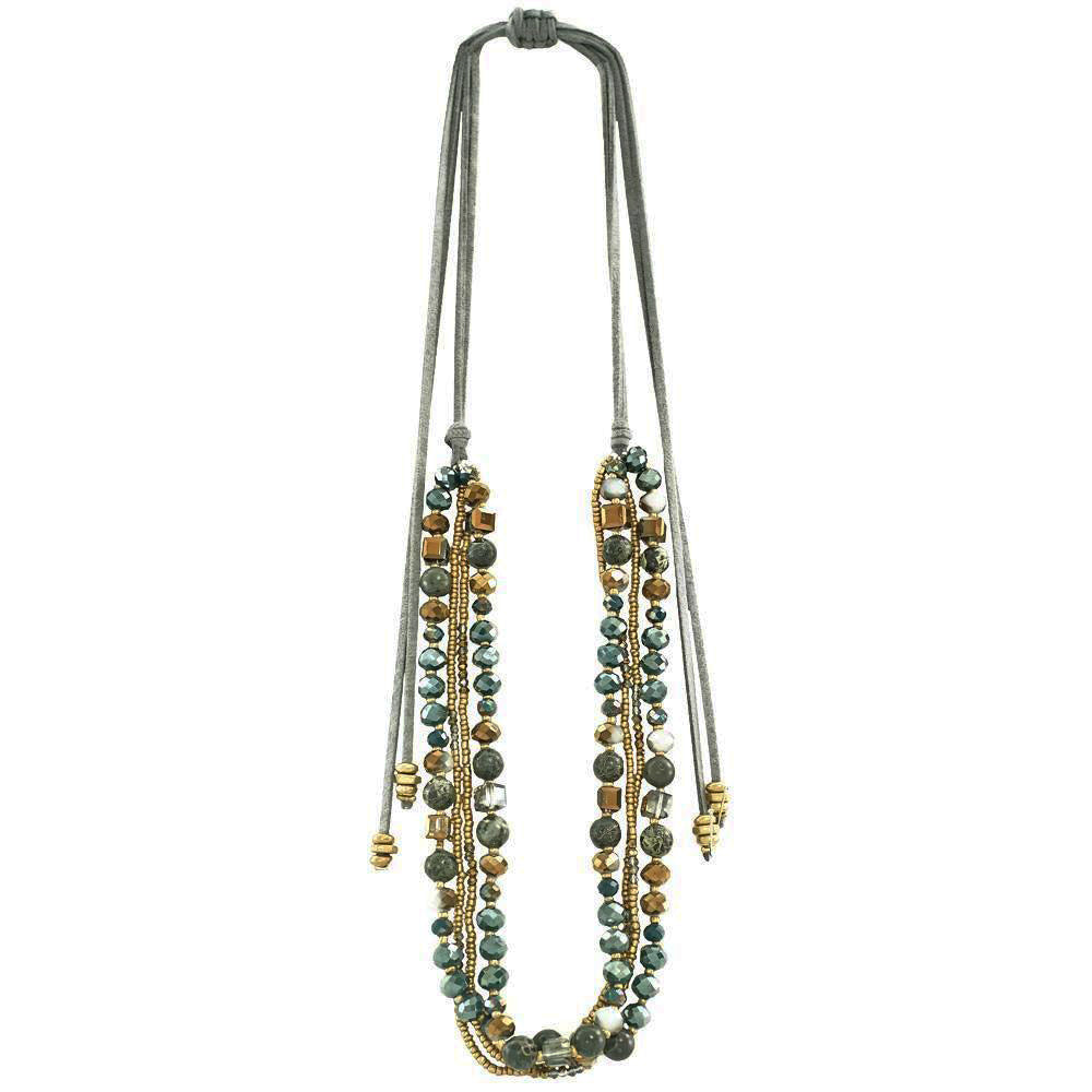 Multi-row Necklace w/ Stones, Crystals & Grey Suede