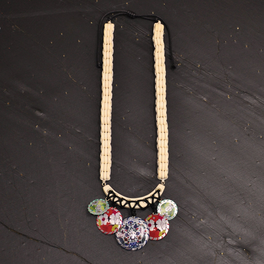 Wood Necklace with Multicolor Pendants