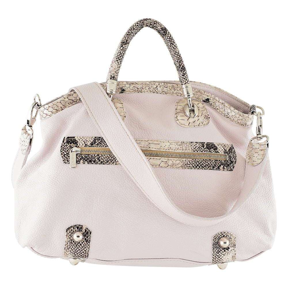 White Leather Bag w/ Cobra Details