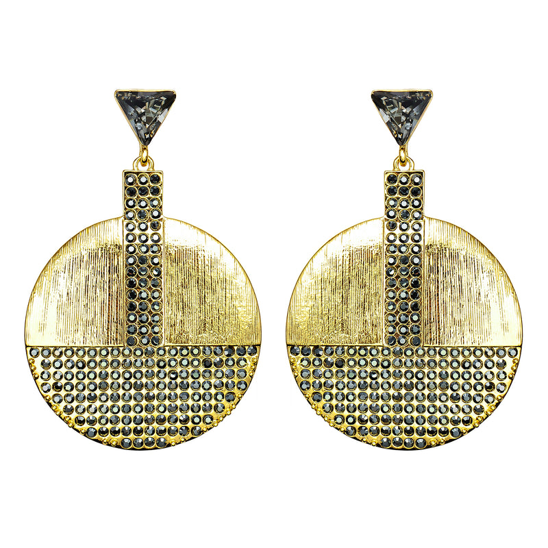 Golden Earrings w/ Black Crystals