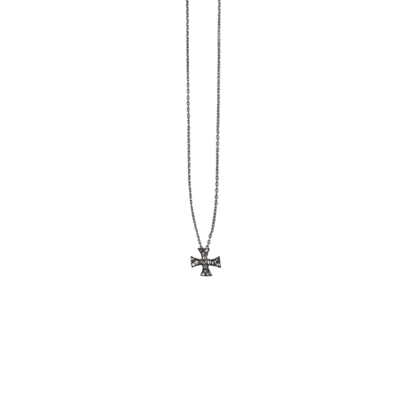 Silver Necklace w/ Crystal Cross
