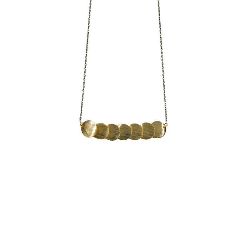 Gunmetal Necklace w/ Golden Plates