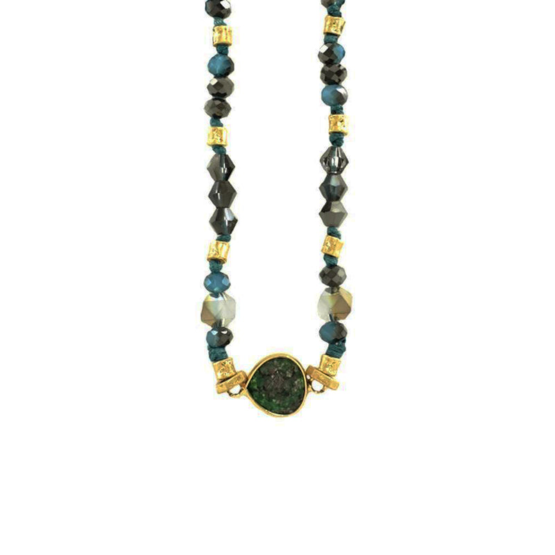 Blue & Green Crystal and Stone Necklace