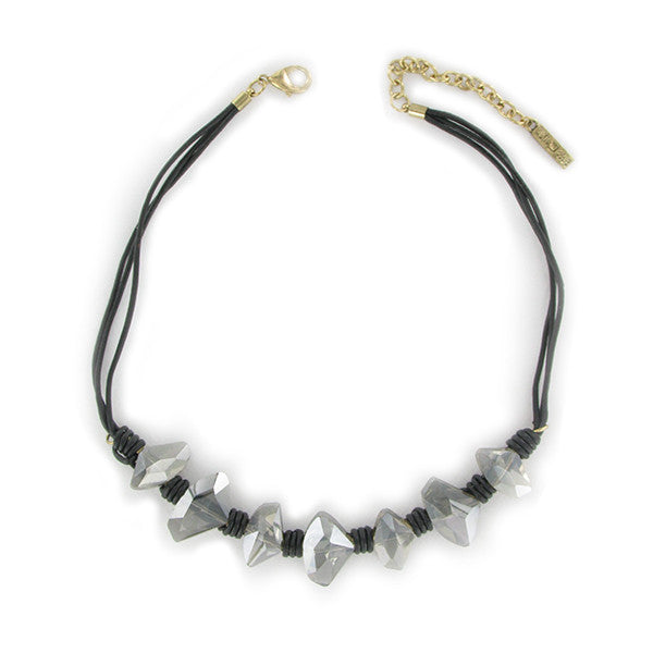 Black Leather Necklace with Glass