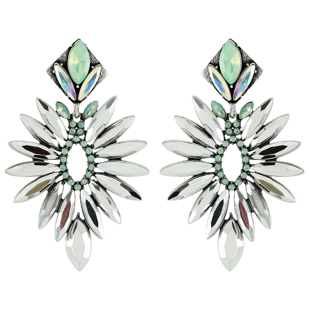 Silver & Green Crystal Earrings
