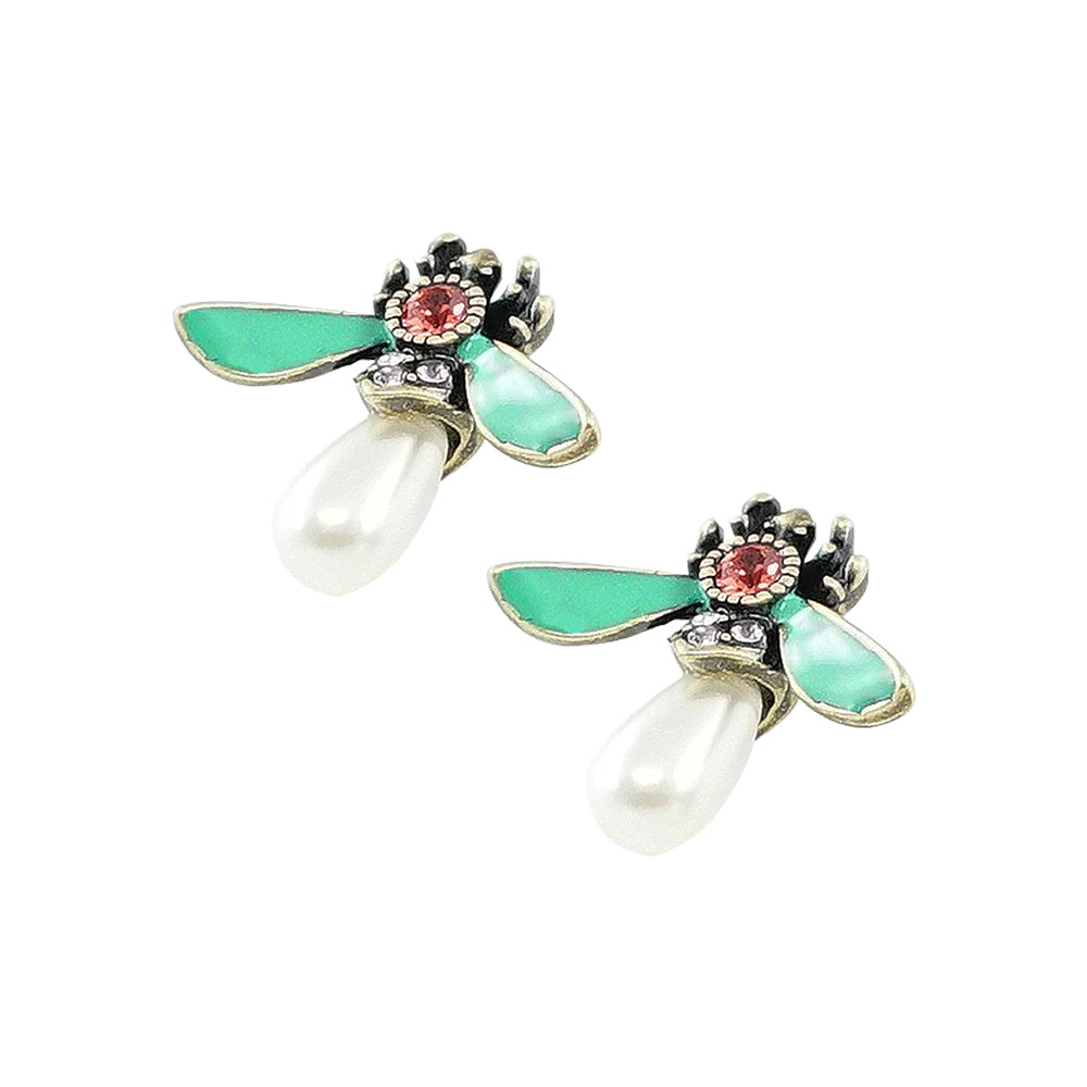 Bug Earrings w/ Crystal, Cultured Pearl & Enamel