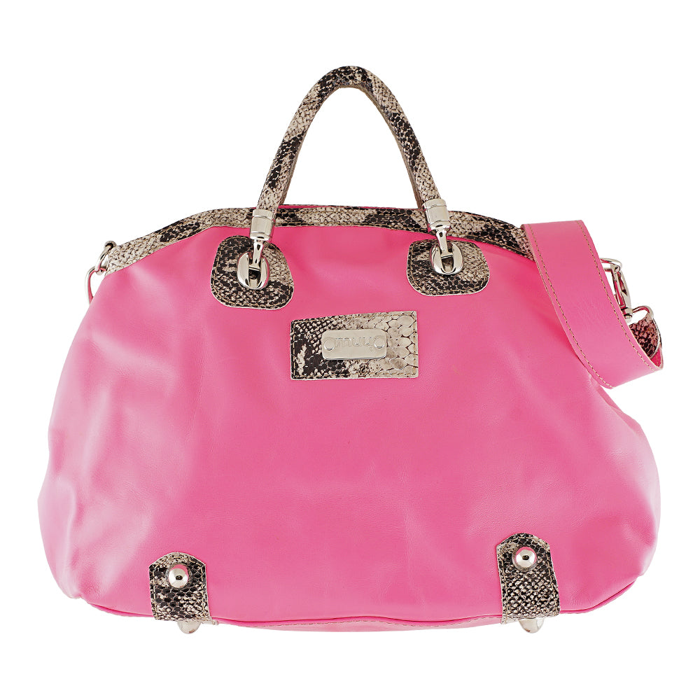 Cobra & Pink Leather Bag