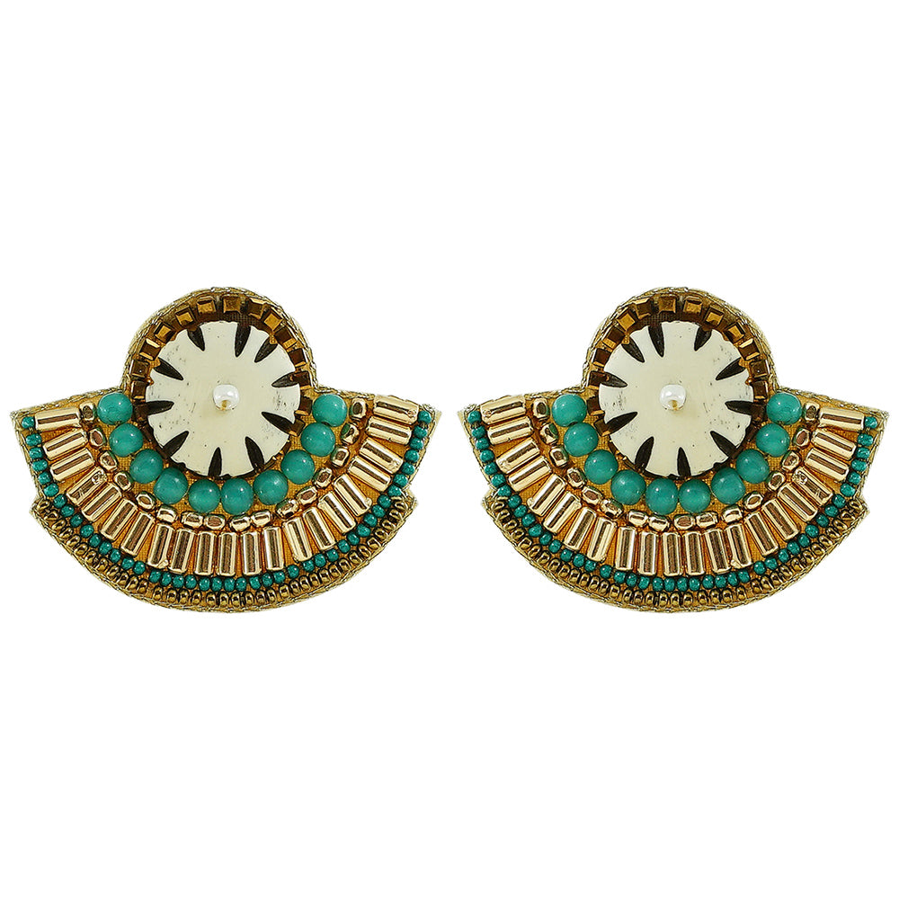 Golden Earrings w/ Green Beads & White Stone