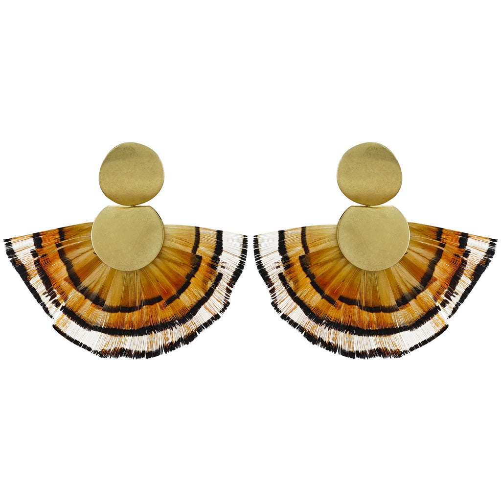 Golden Earrings w/ Orange Feather