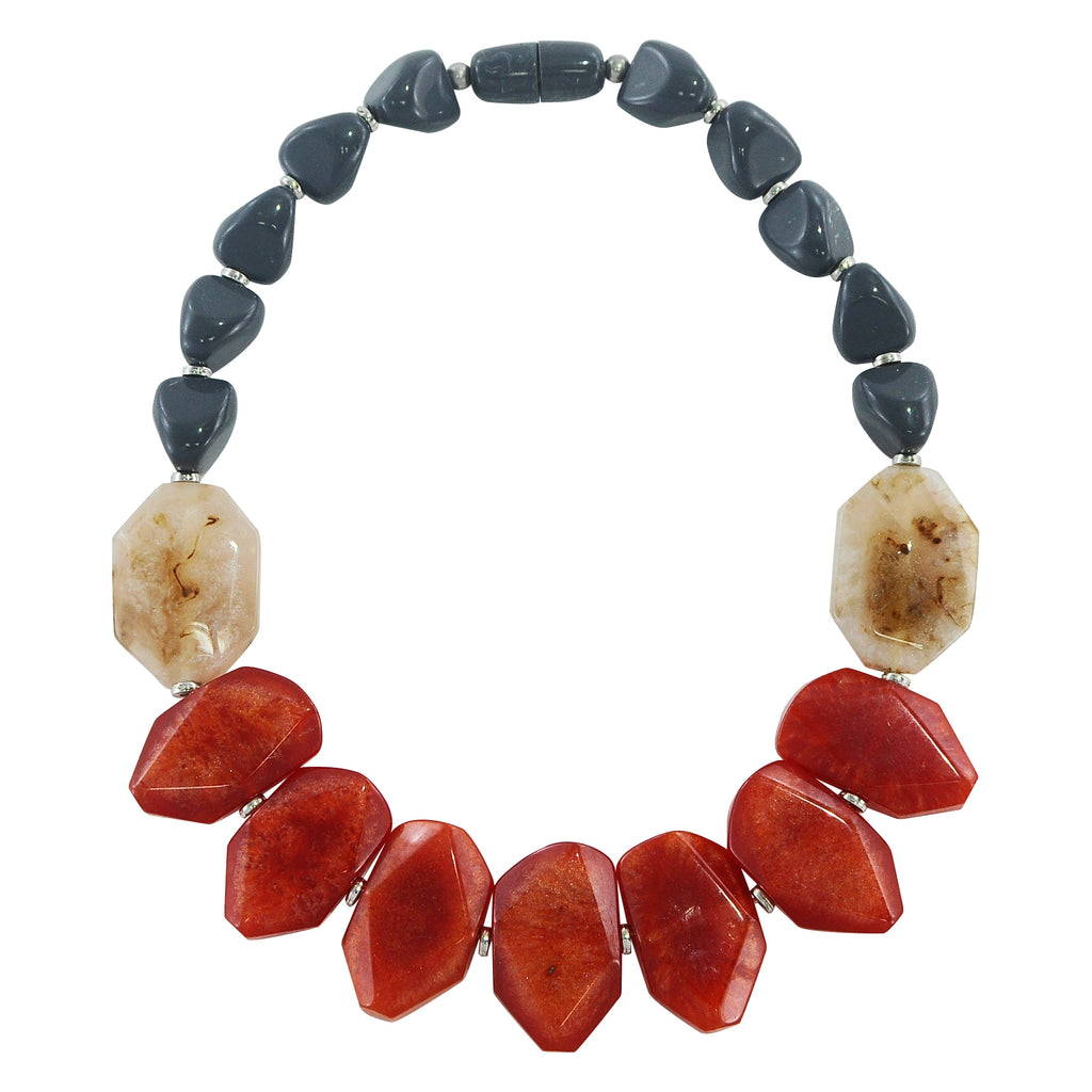 Grey & Red Resin Necklace