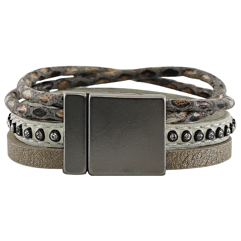 Grey Leather Bracelet w/ Crystals