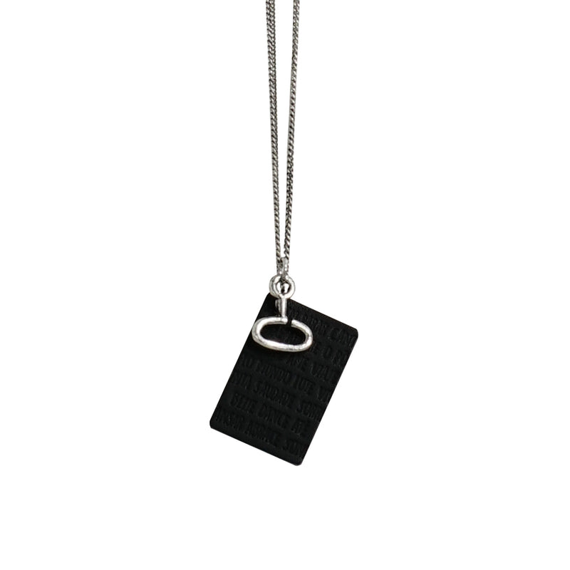Engraved Leather Pendant w/ Gunmetal & Silver Chains