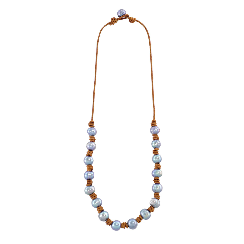 Natural Leather String w/ Cultured Pearls