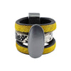 Yellow Fur Ring w/ Pattern & Gunmetal Detail