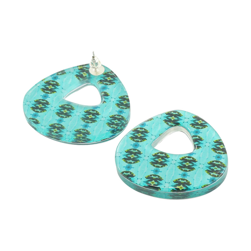 Blue Resin Patterned Earrings