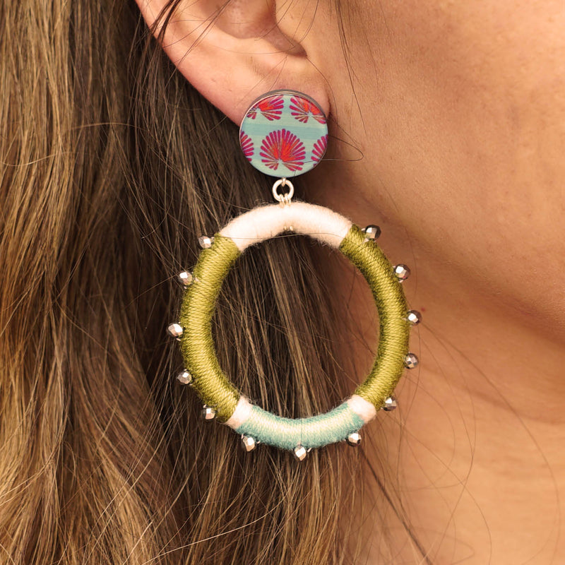 Resin Earrings w/ Fabric & Crystals