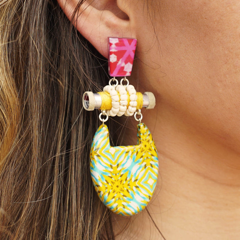 Patterned Resin Earrings w/ Wood & Fabric