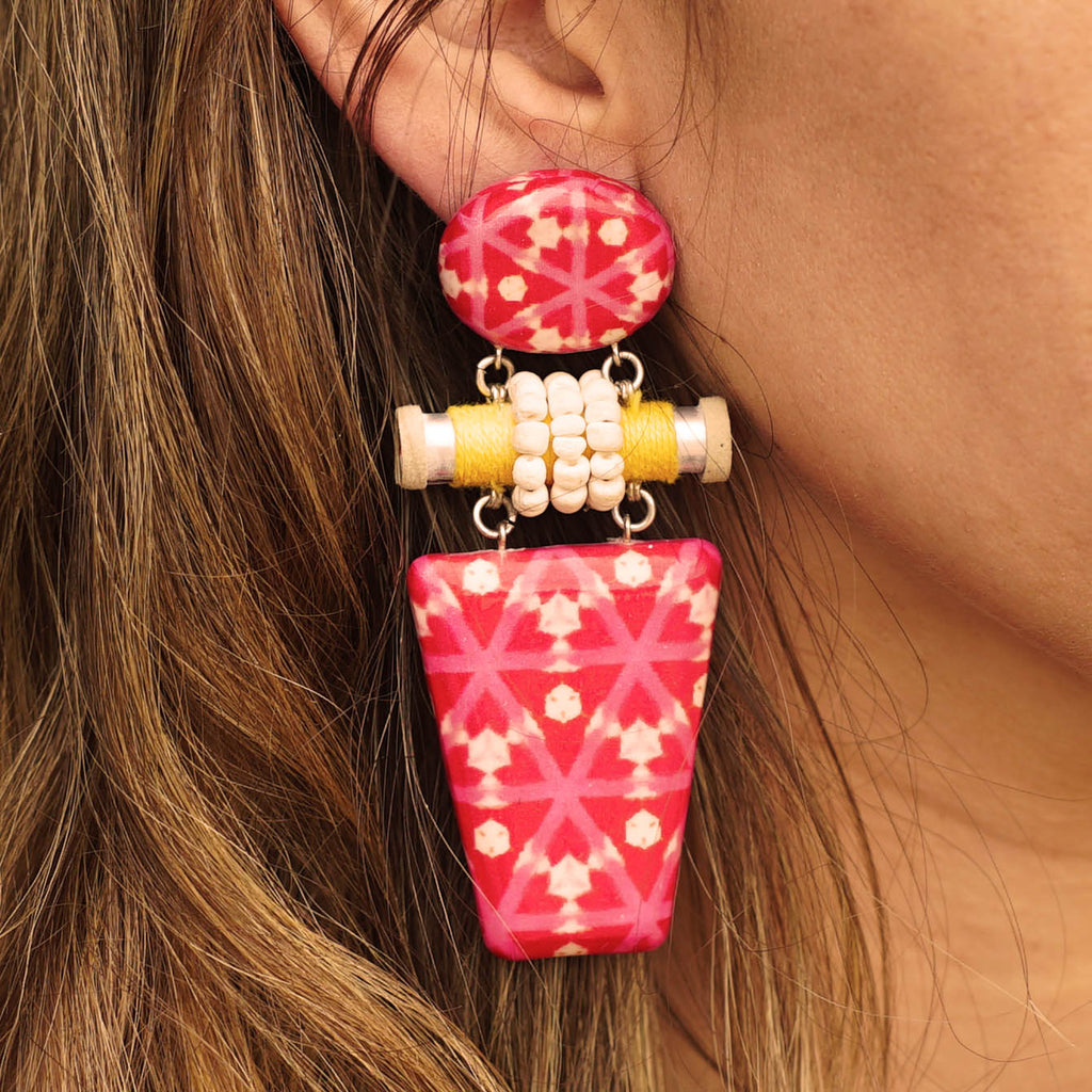 Patterned Resin Earrings w/ Wood