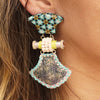 Patterned Resin Earrings w/ Wood, Fabric & Metal