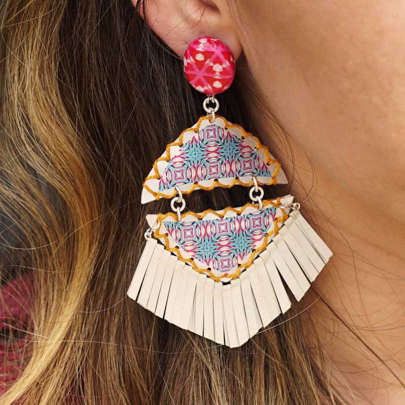Patterned Earrings with fringes