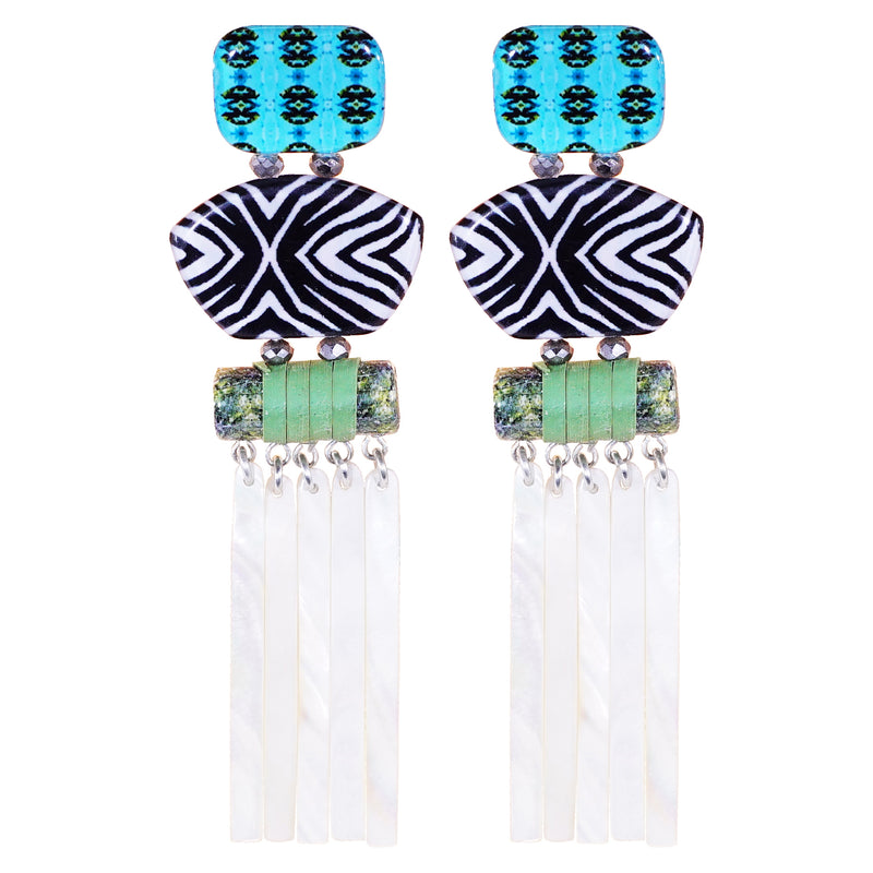 Multicolored Pattern Earrings W/ Mother of Pearl Fringe