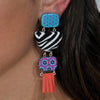 Patterned Resin Earrings w/ Tassels