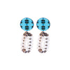 Pattern Earrings w/ white and grey beads